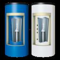 Zeichnung mit Querschnitt Kombispeicher Logalux PL750 in blau und weiß